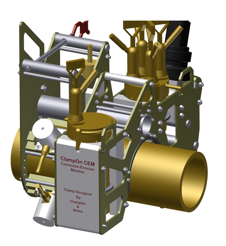 Figure: The ROV solution for ClampOn's subsea Corrosion-Erosion Monitor. The main clampon with the electronics chamber, a battery pack in the middle and one transducer clamp on each side.