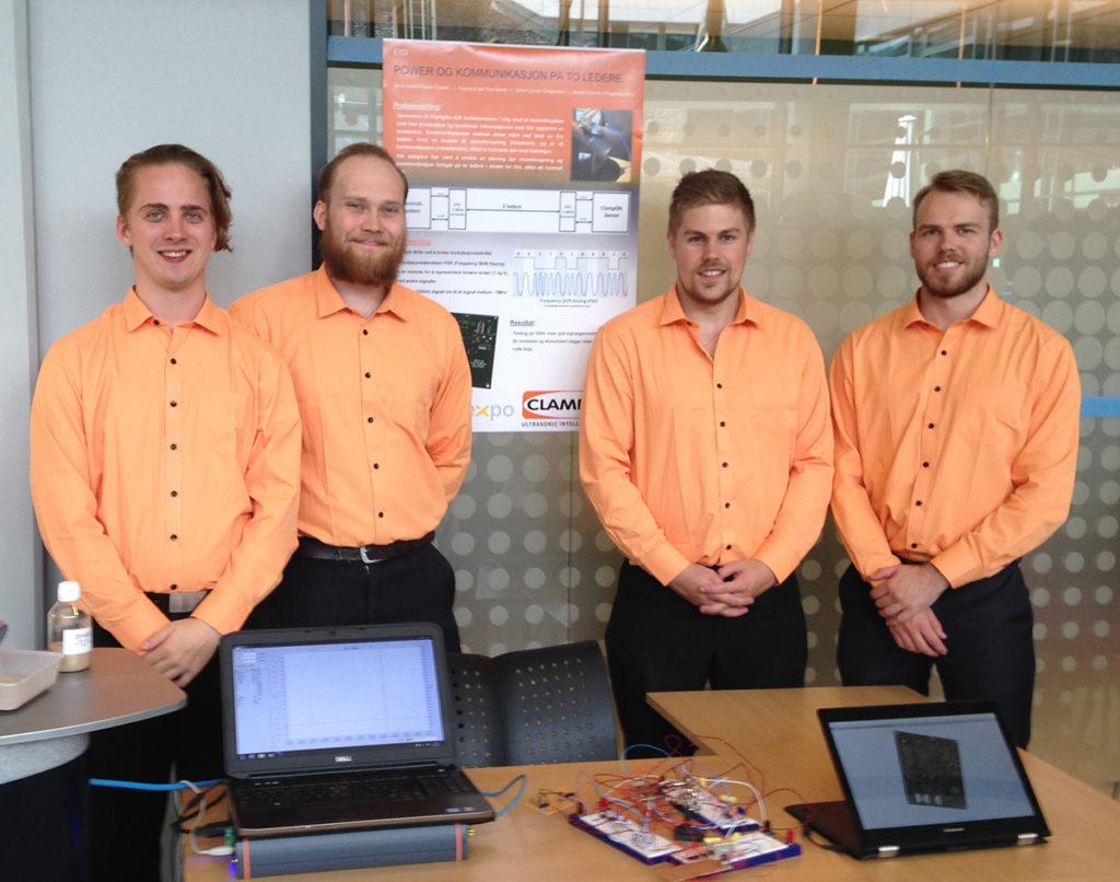Students presenting their assignment, from left: Henrik Berg, August Nesse, Simen Torbjørnsen and Hans Fossem