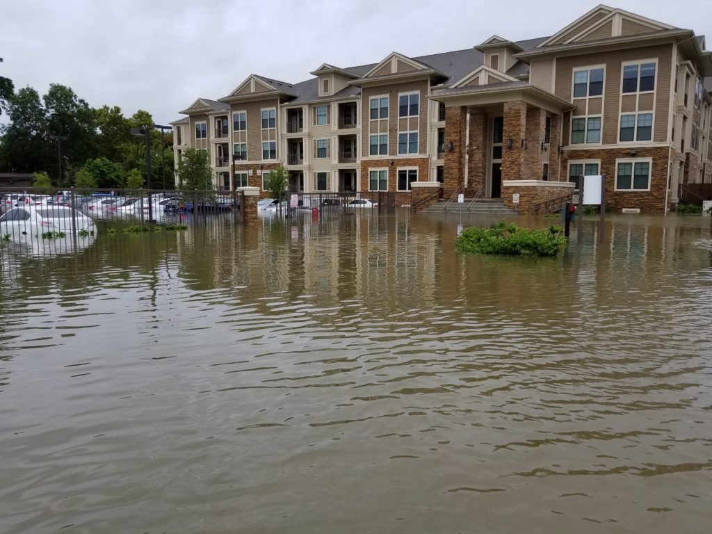 Water surrounding apartment complex where Caleb Roquemore (ClampOn, Inc.) resides (Houtson, TX)